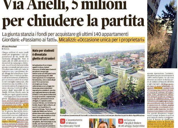 5 milioni di euro per via Anelli. Non mi pare una buona idea. Cari consiglieri, pensateci bene