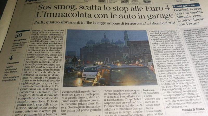 Ci risiamo: scatta di nuovo il blocco delle diesel euro4 a Padova fino a giovedì 21/02