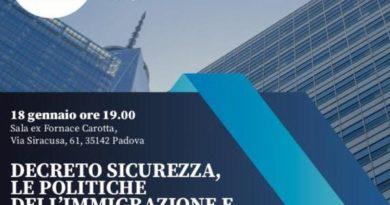 Alla Fornace Carotta Destra Veneta e il Gruppo dei conservatori e riformisti europei fa il punto su decreto sicurezza. Appuntamento venerdì 18/01 alle 19